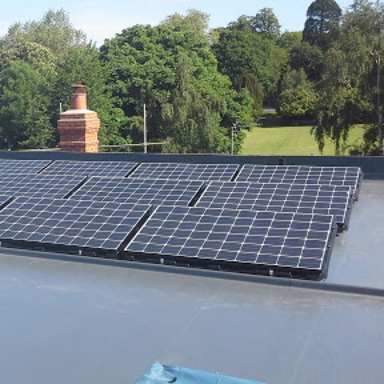Roof mounted solar console